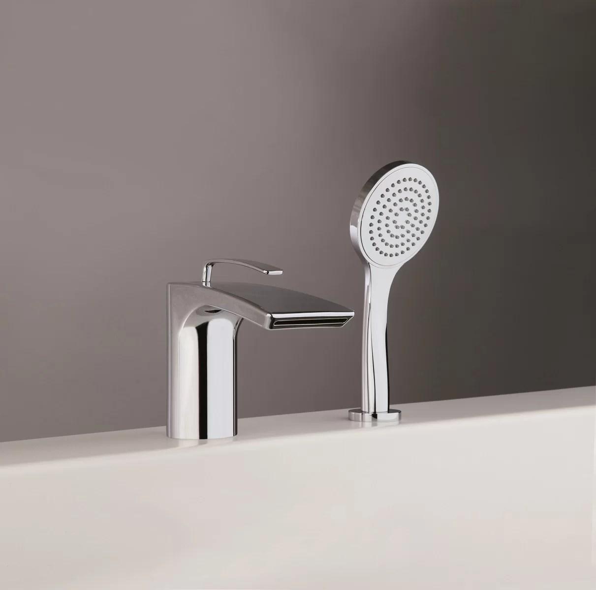 bollicine single handle deck mounted roman tub faucet trim trim with handshower