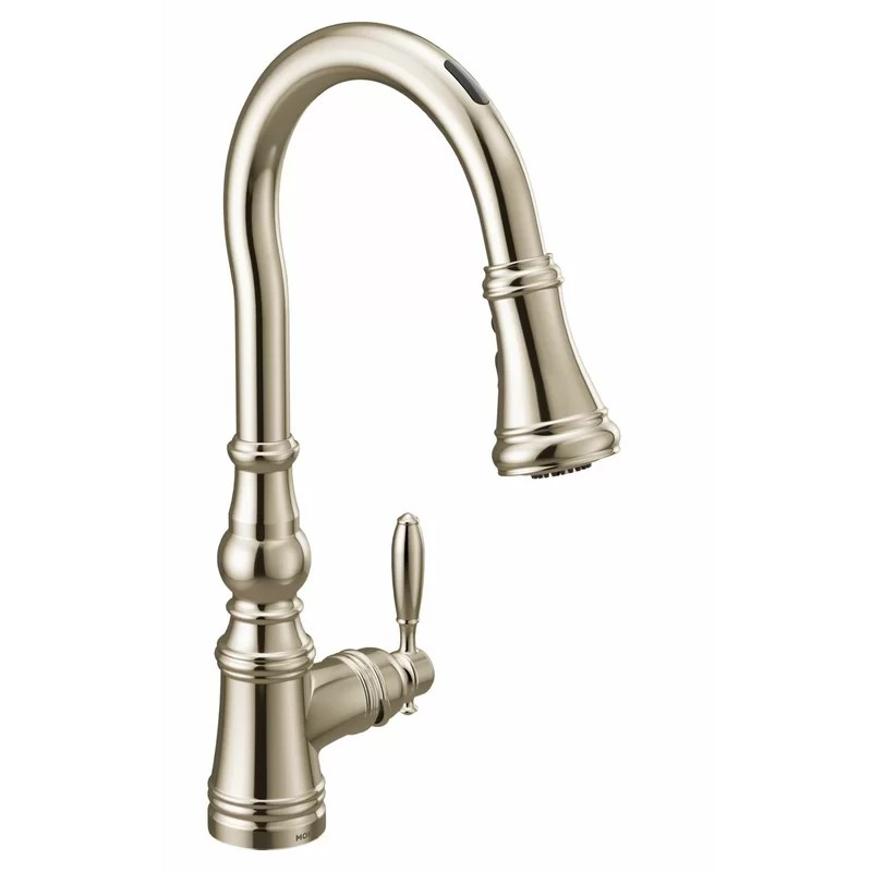 weymouth smart touchless single handle kitchen faucet with wave power boost duralock and reflex
