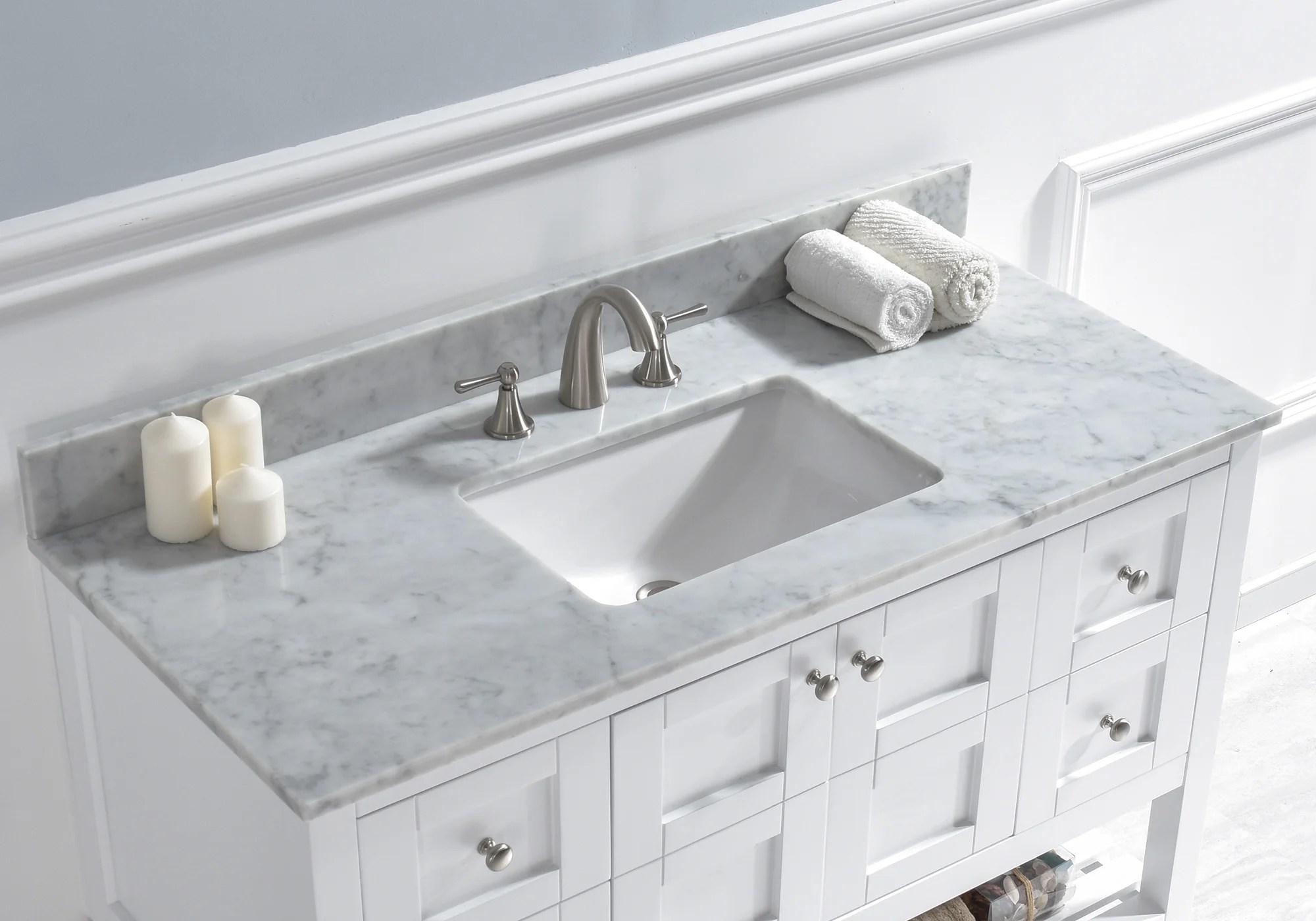 48 single bathroom vanity top in carra white with sink