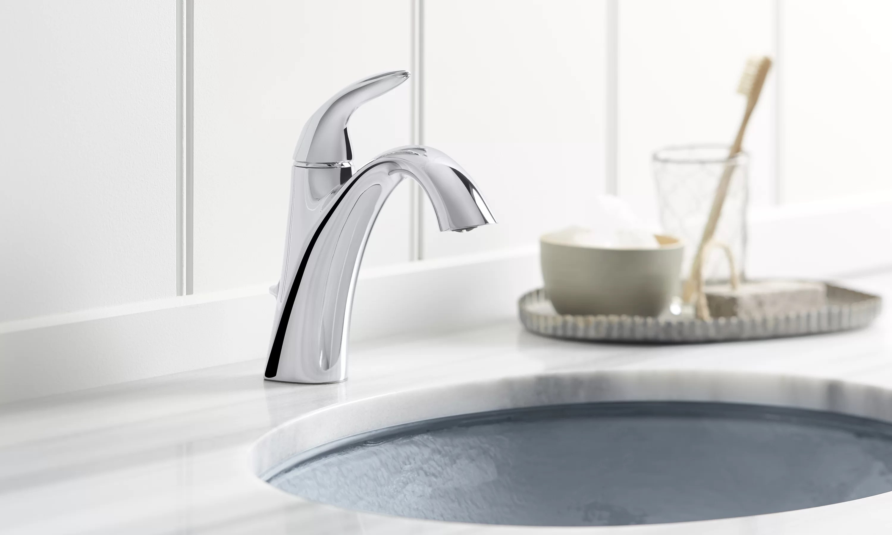 alteo single handle bathroom sink faucet with optional pop up drain assembly