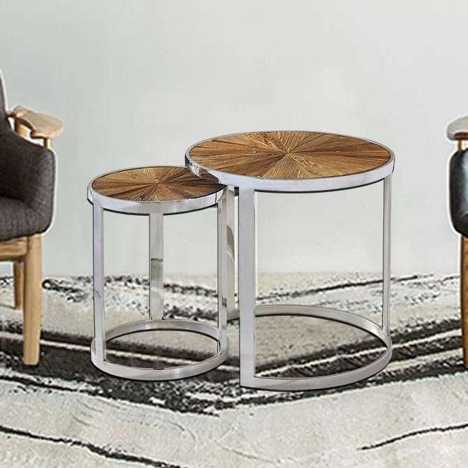 ephratah reclaimed elm wood 2 piece nesting tables