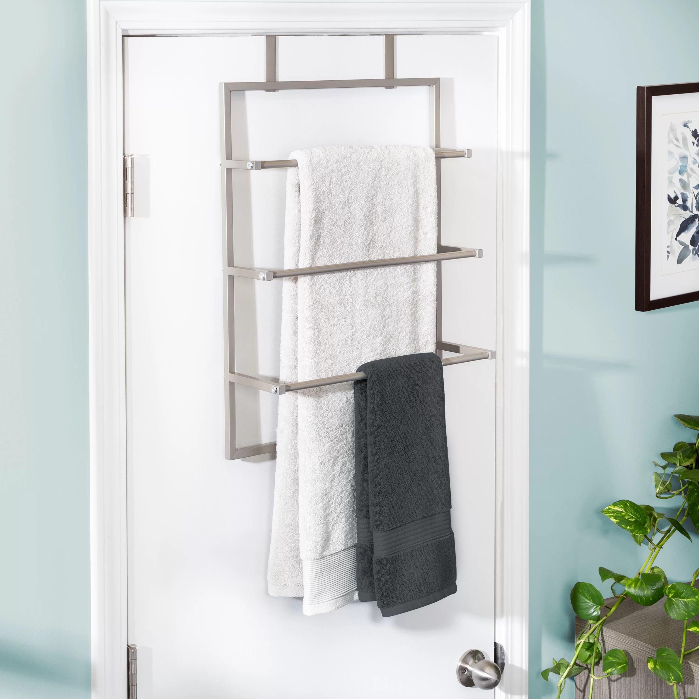 steel bath over the door towel rack