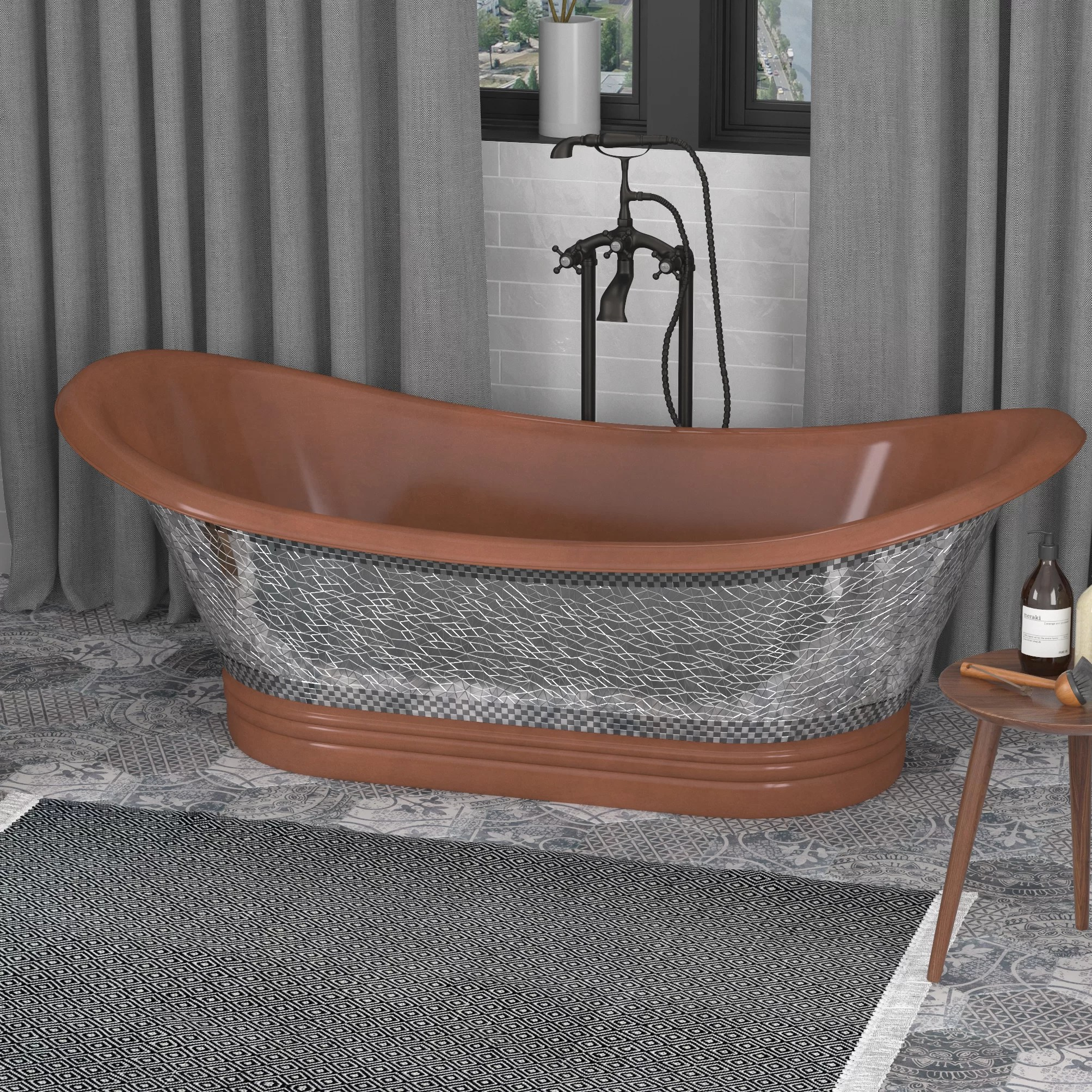 Anzzi Theodosius 68 In Handmade Copper Double Slipper Freestanding Bathtub In Polished Antique Copper Wayfair Ca