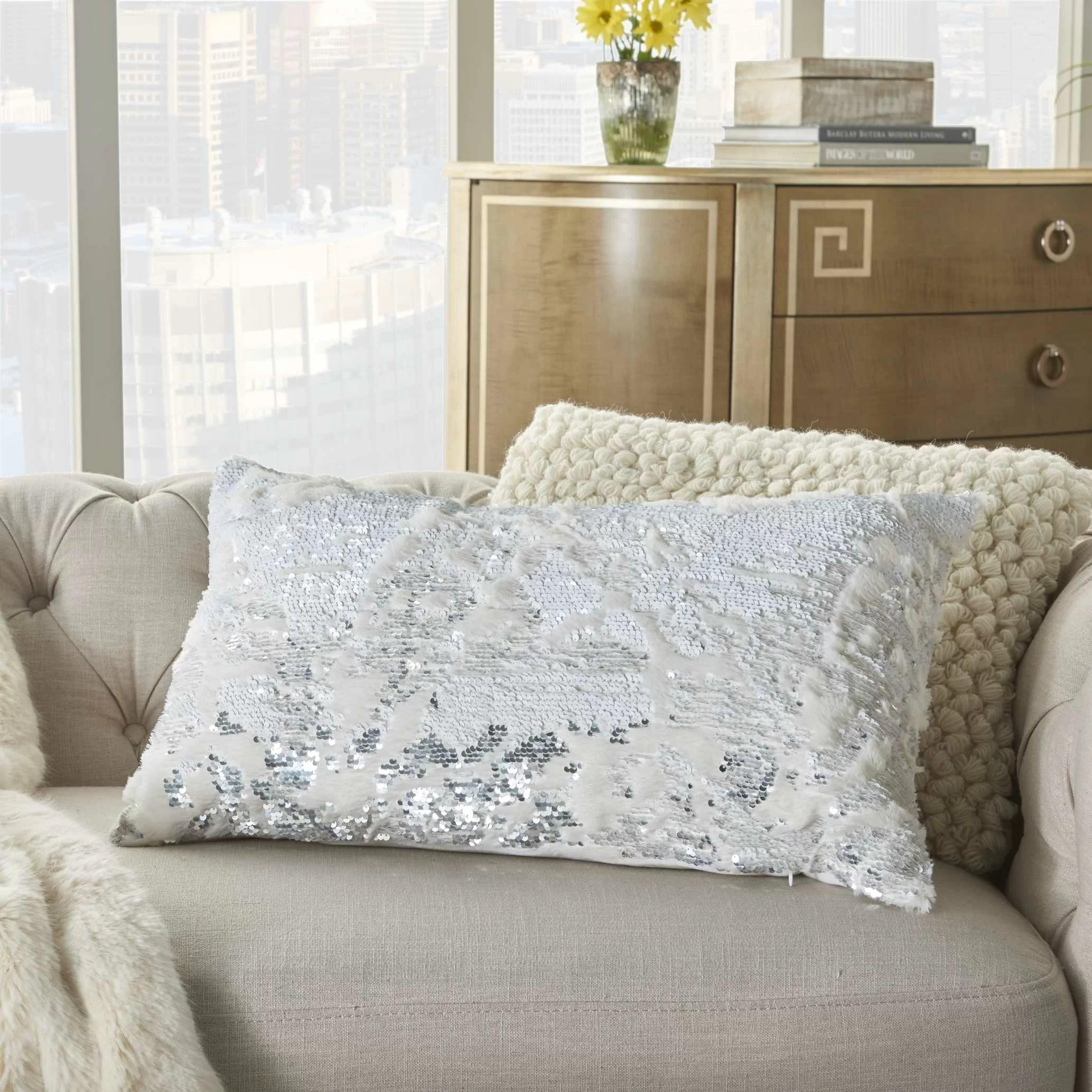 christofferso abstract faux fur lumbar pillow
