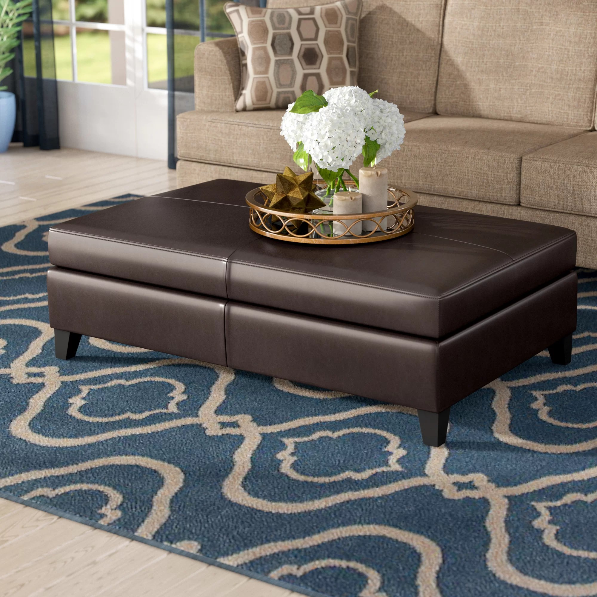Three Posts Fordbridge 48 Wide Faux Leather Rectangle Storage Ottoman Reviews