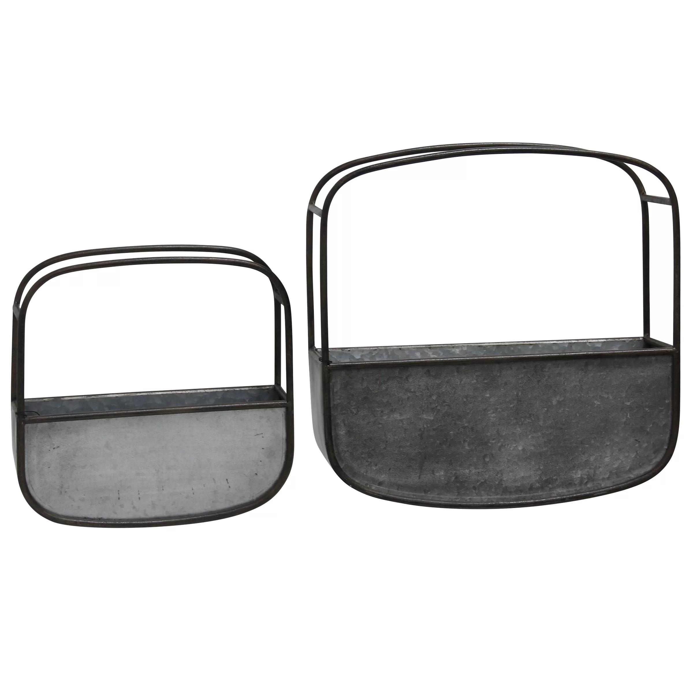 2 Piece Metal Wall Baskets Wall Decor Set