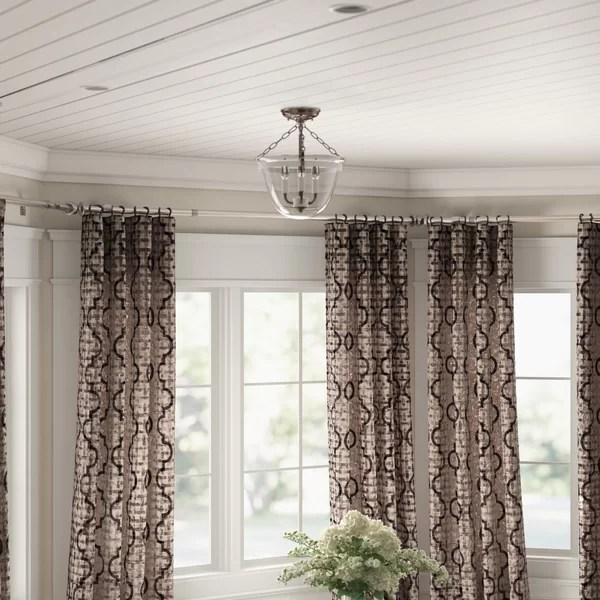 curved curtain rod bay window