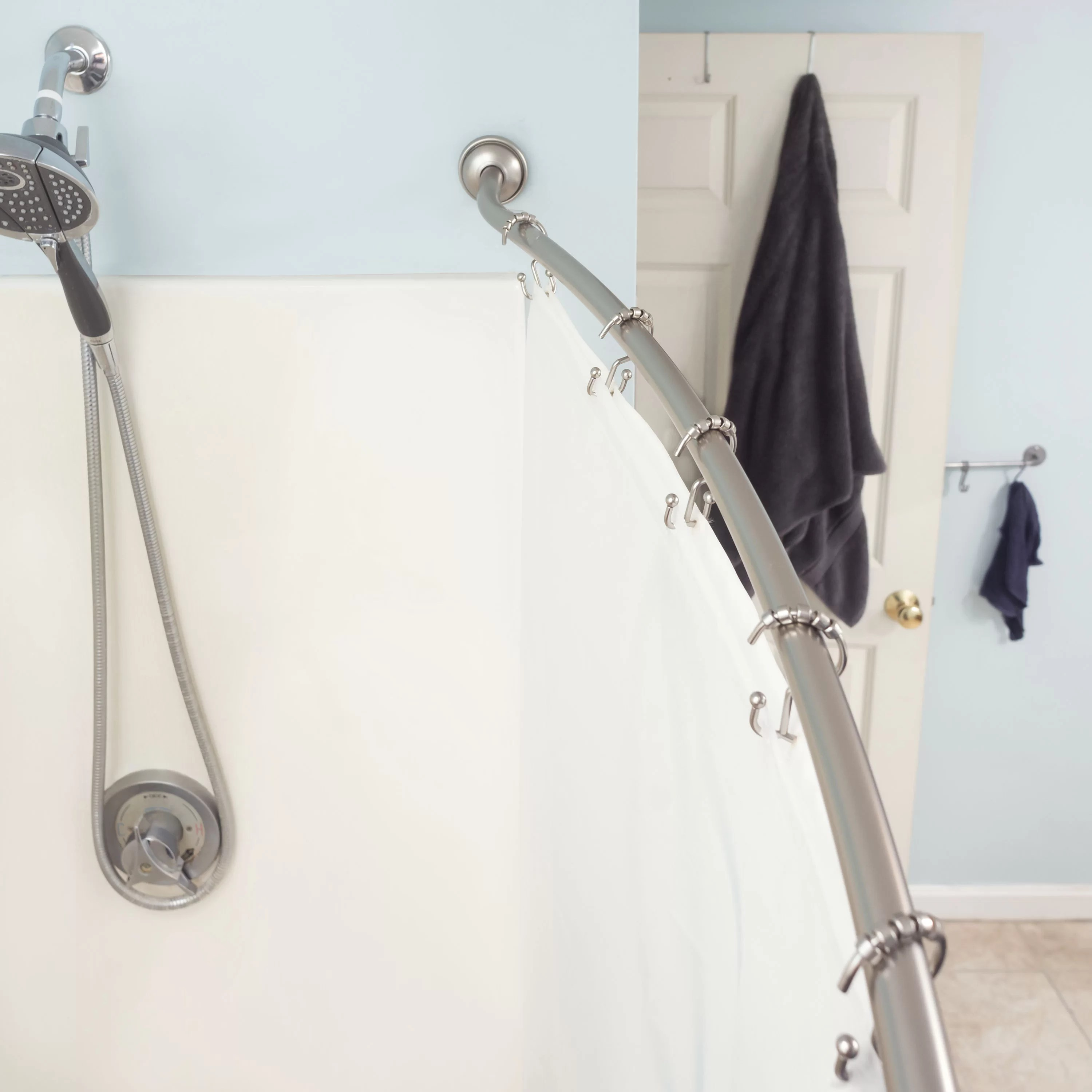 ebern designs amanah steel 1 5 w curved shower curtain rods reviews wayfair