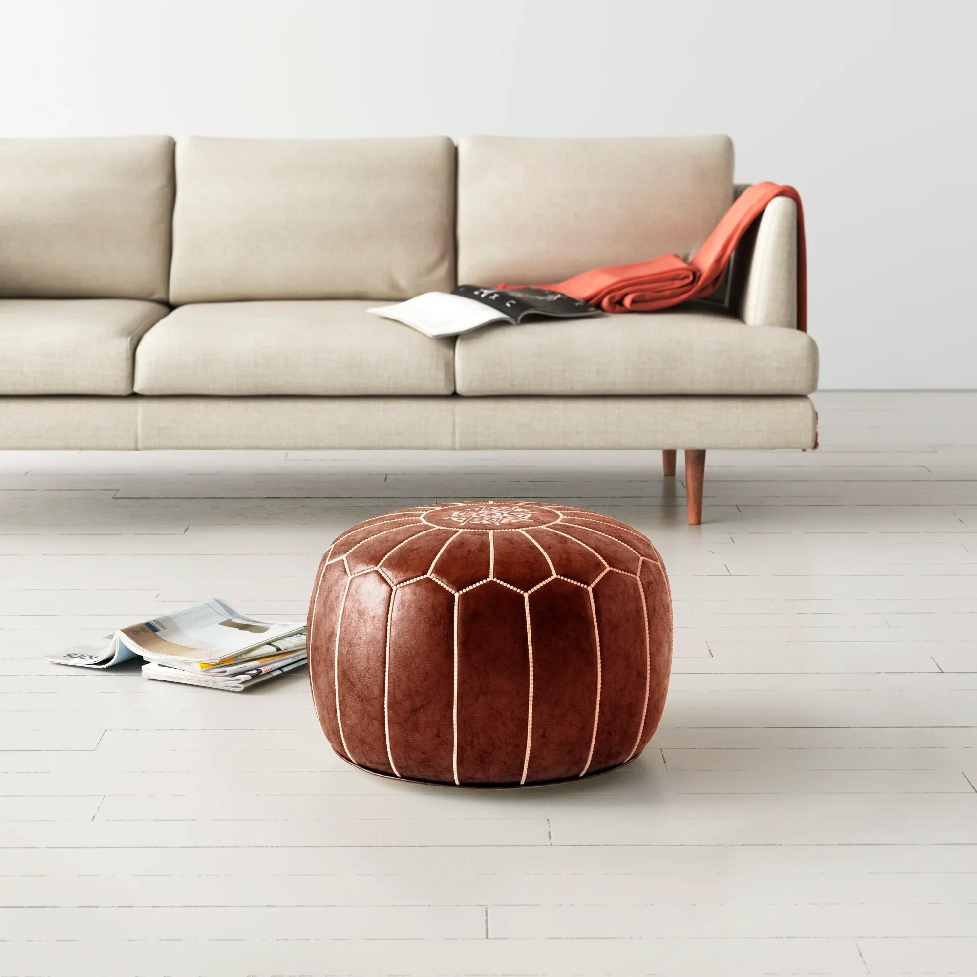 modern leather ottomans poufs allmodern