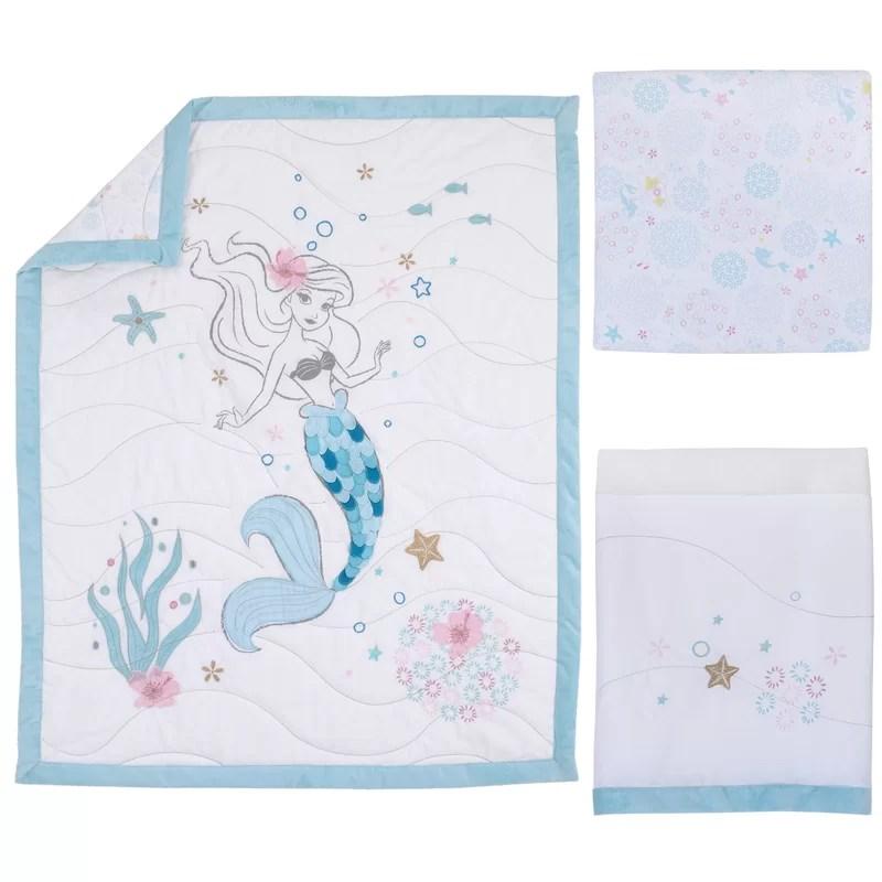 ariel sea princess 3 piece crib bedding set