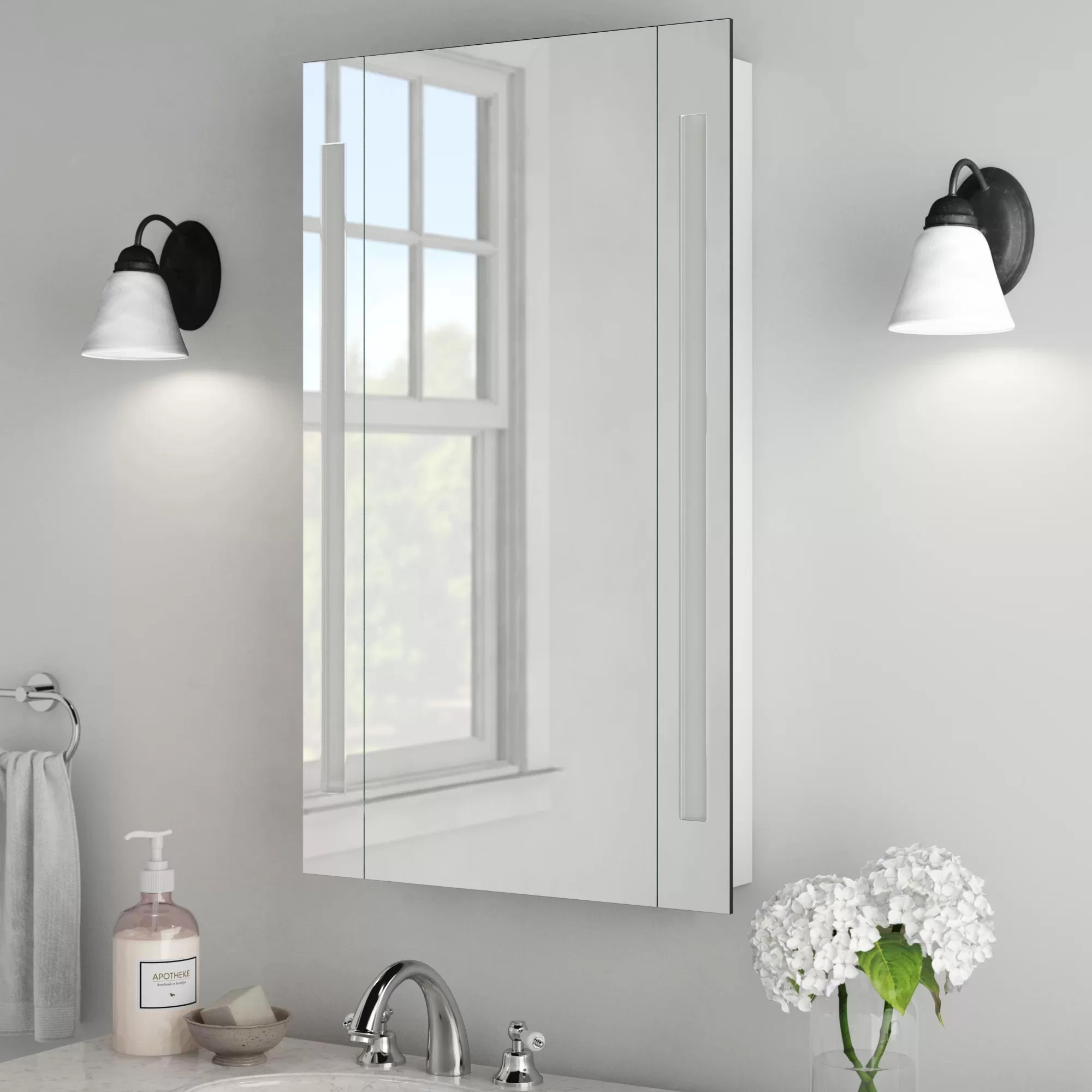 corby surface mount frameless medicine cabinet with led lighting