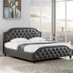 Rosdorf Park Wooden Queen Size Bed With Button Tufted Leatherette Headboard And Footboard Dark Grey Wayfair Ca