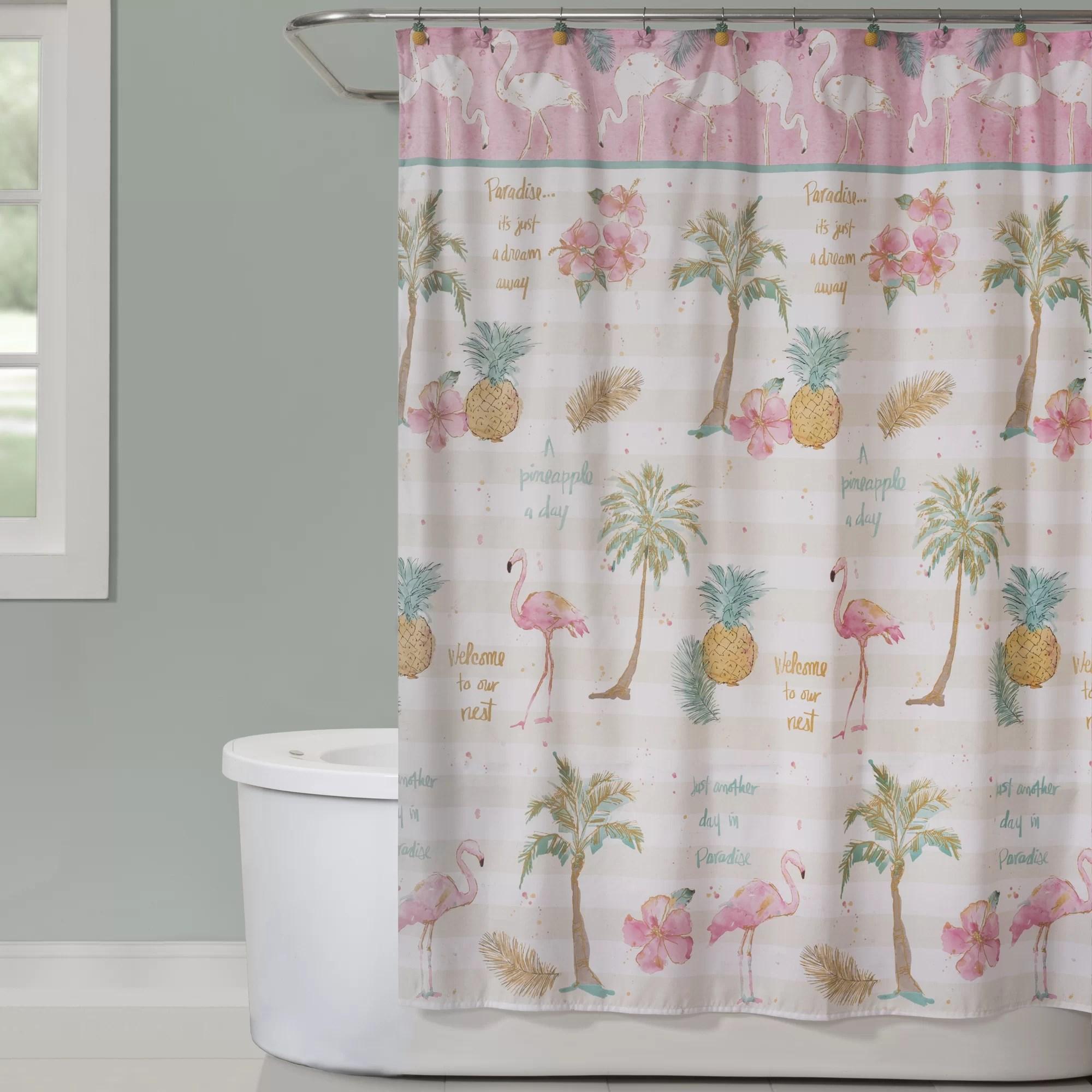 flamingo garden single shower curtain
