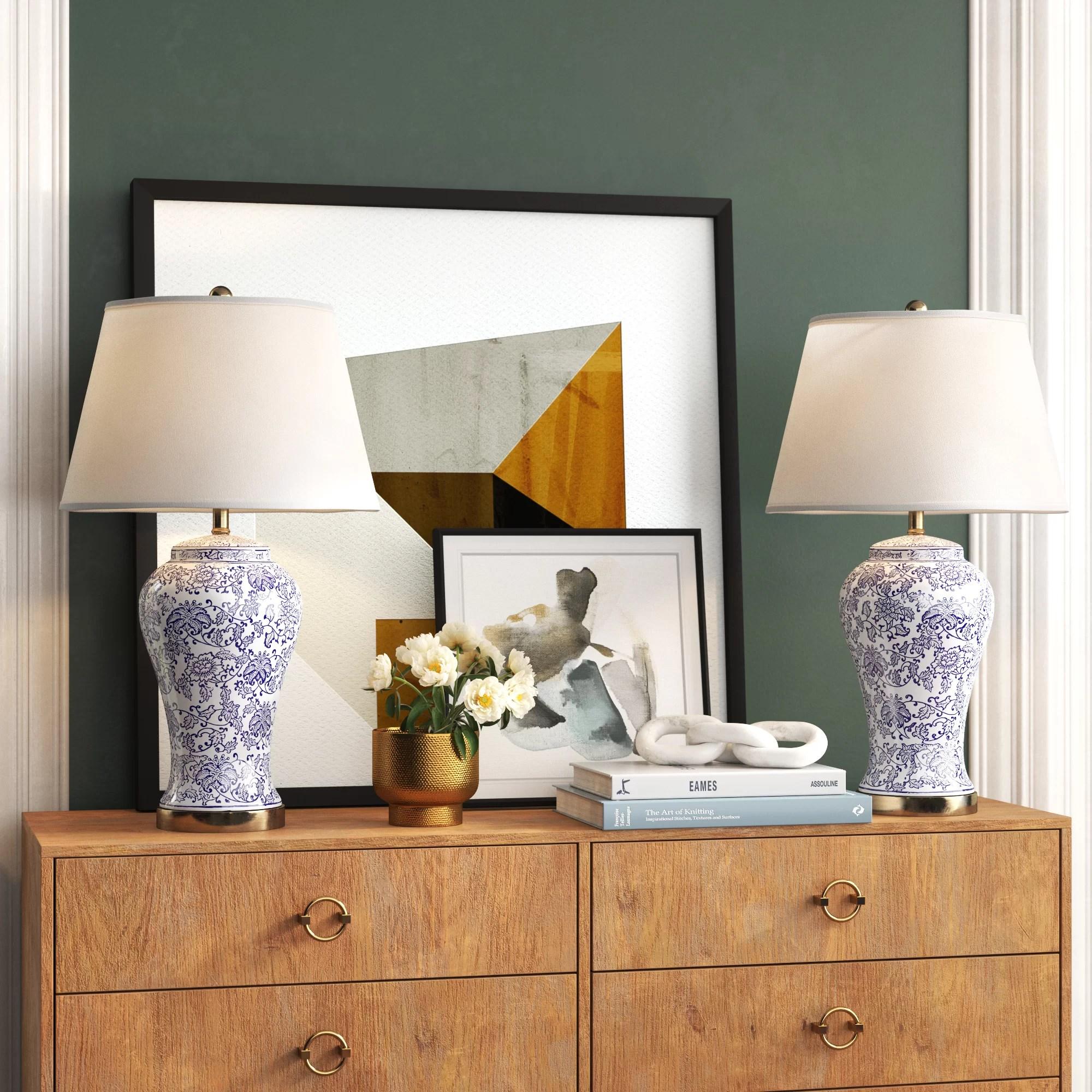 Vicente Blossom 29 Blue White Table Lamp Set Reviews