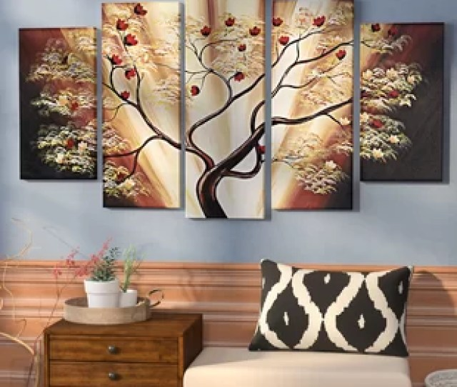 Budding Cherry Blossom Tree  Piece Painting On Canvas Set