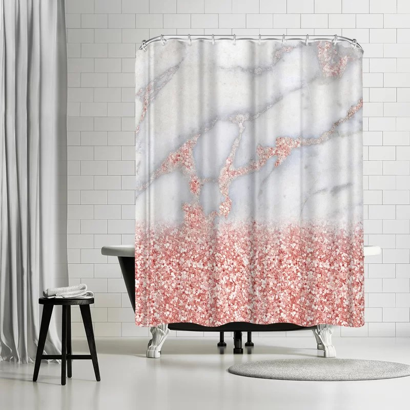 grab my art shiny rose gold blush glitter on marble single shower curtain