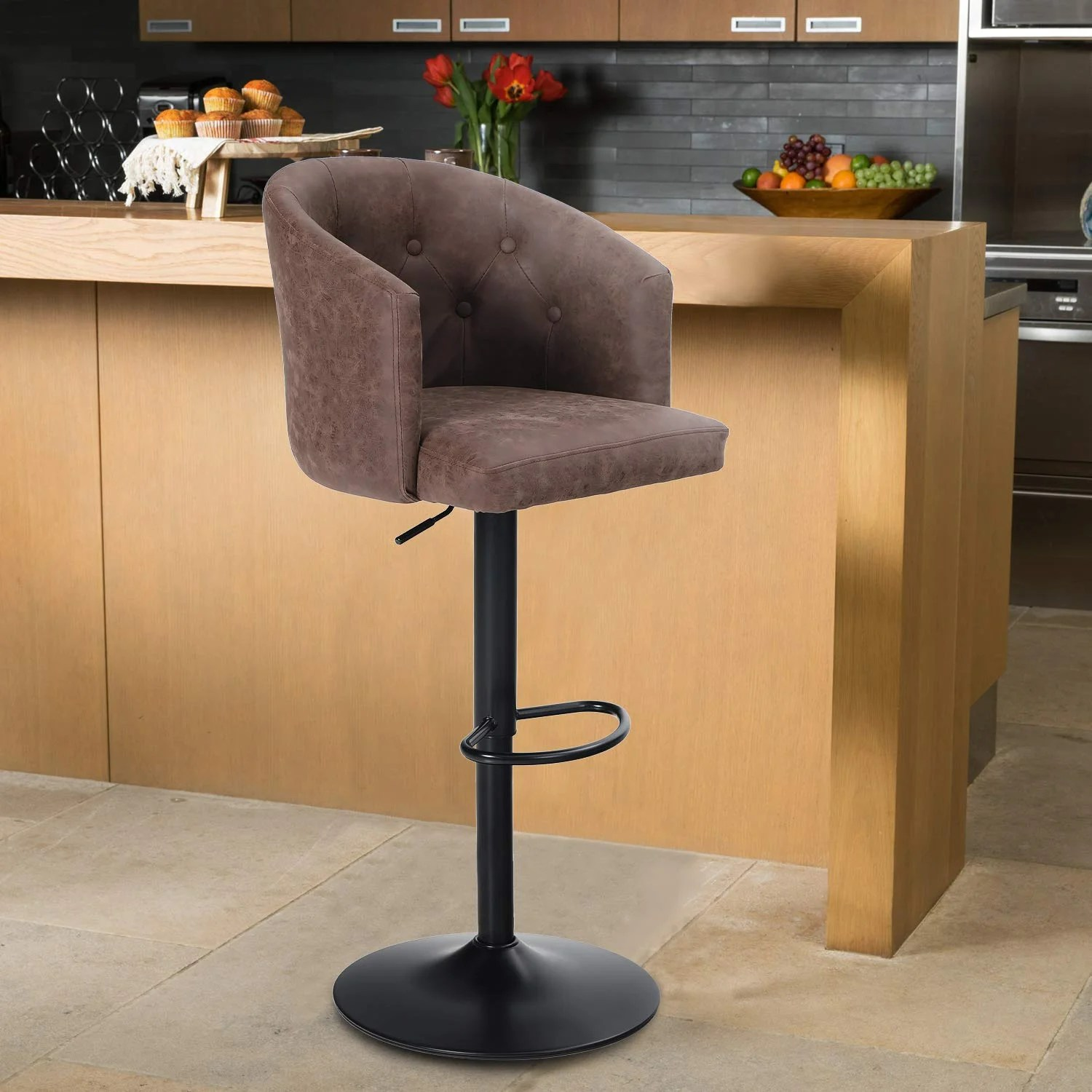 17 Stories Height Bar Stool Height Adjustable Barstool For Kitchen Counter Swivel Bar Chair With Rounded Mid Back For Kitchen Island Brown 1 Stool Wayfair