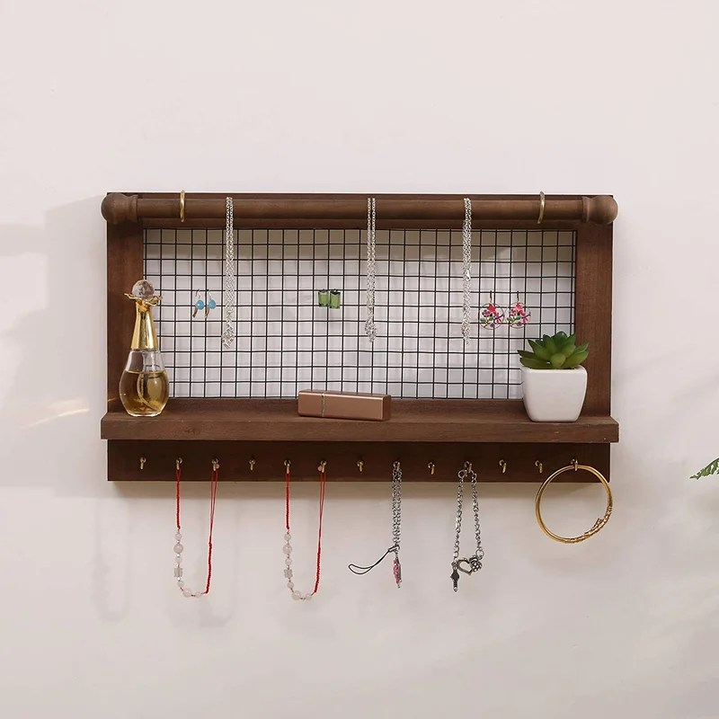 jewelry organizer wall mount vintage rustic wall hanging display wooden jewelry holder storage rack shelf with removable bracelet rod brown