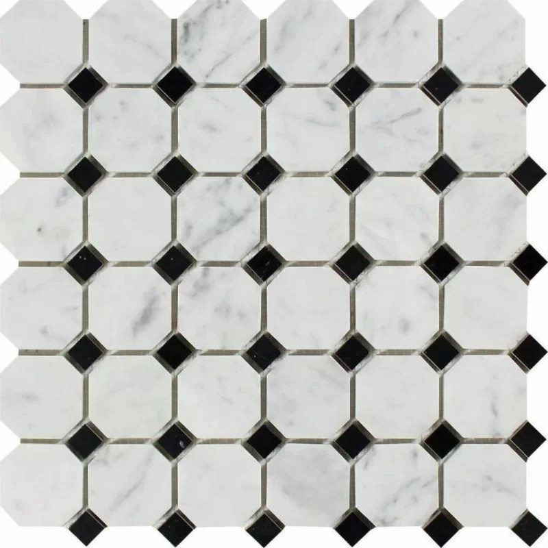 marble octagon and dot mosaic wall floor tile