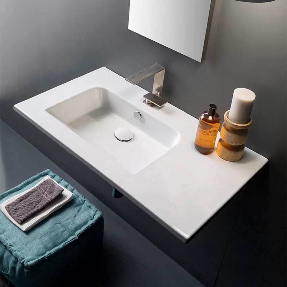 ceramic 33 wall mount bathroom sink with overflow