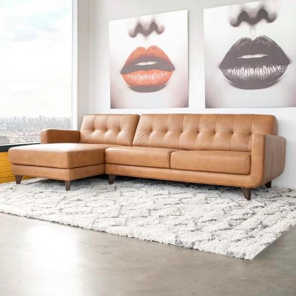 elva 111 5 wide genuine leather sofa chaise