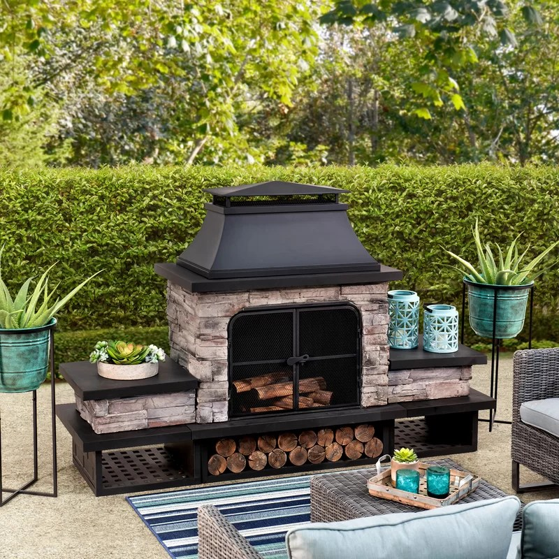 Canora Grey Quillen Steel Wood Burning Outdoor Fireplace ... on Quillen Steel Outdoor Fireplace  id=11185
