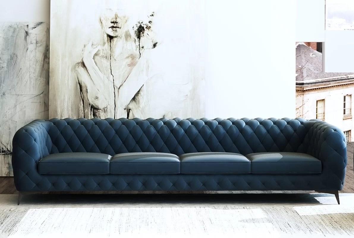 Everly Quinn Vennie Microfiber Chesterfield 121 Rolled Arm Sofa Wayfair