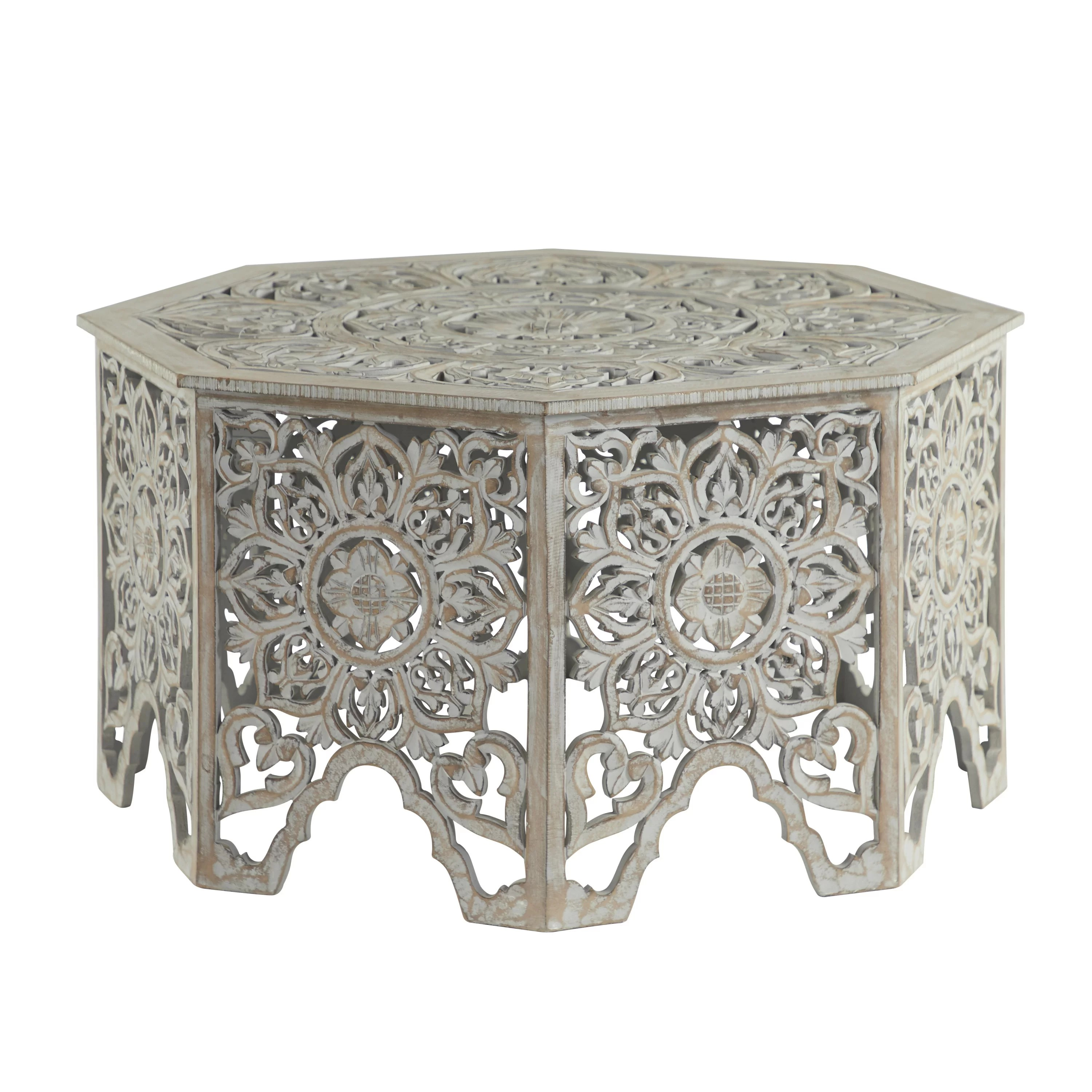 grey washed decorative carved wood coffee table 33 x 18