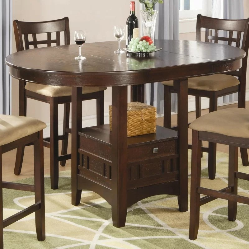 winston porter jeffords counter height extendable solid on solid wood dining table id=80678