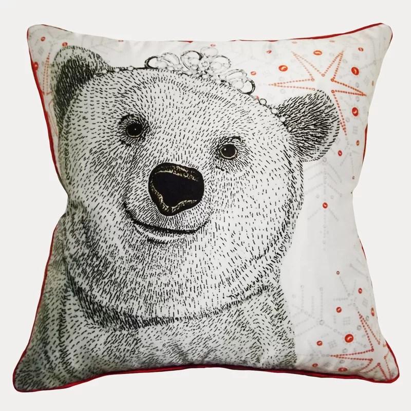 polar bear queen throw pillow