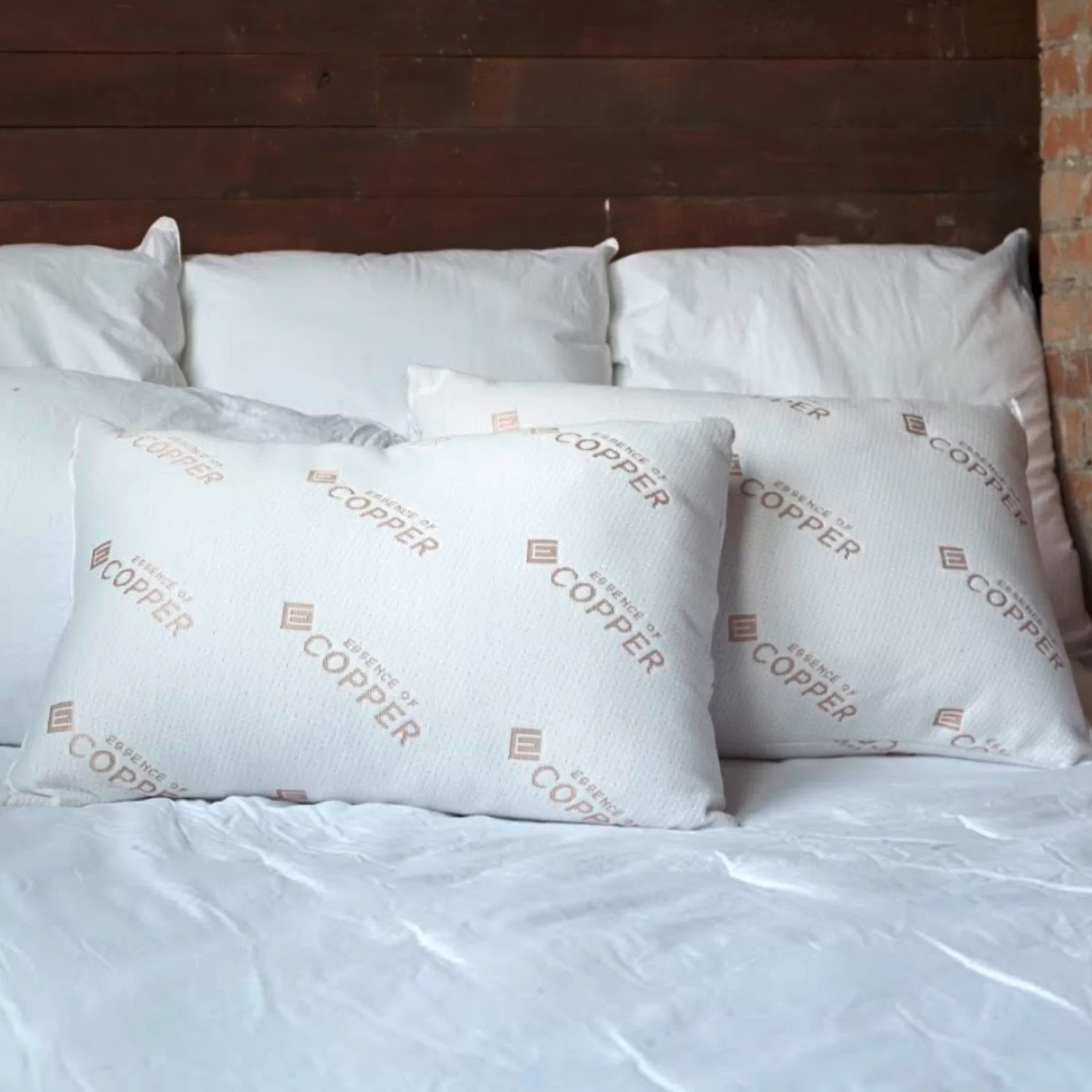 essence of copper medium fiber and polyester polyfill jumbo bed pillow