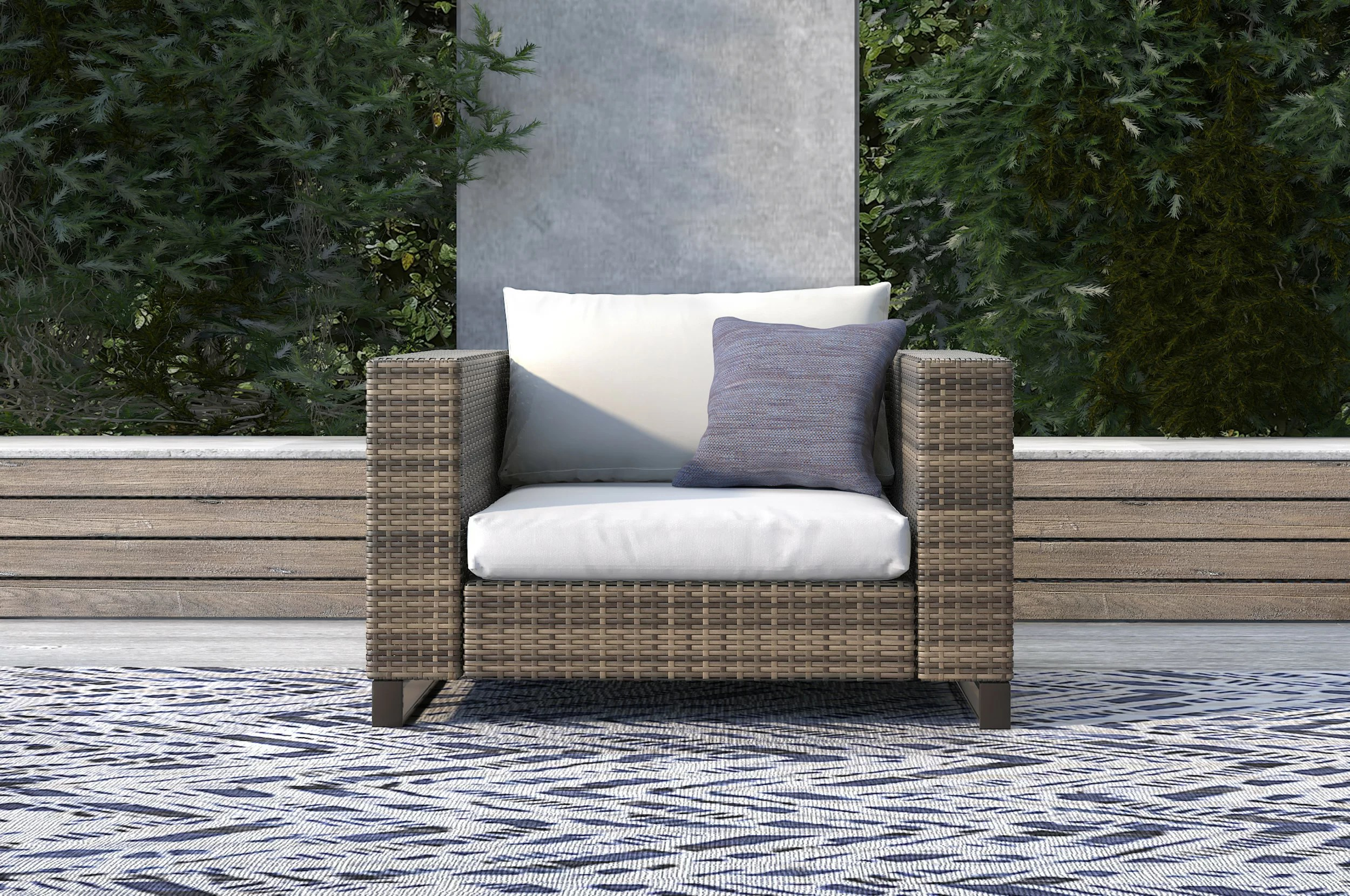 oceanside outdoor wicker patio chair with cushions