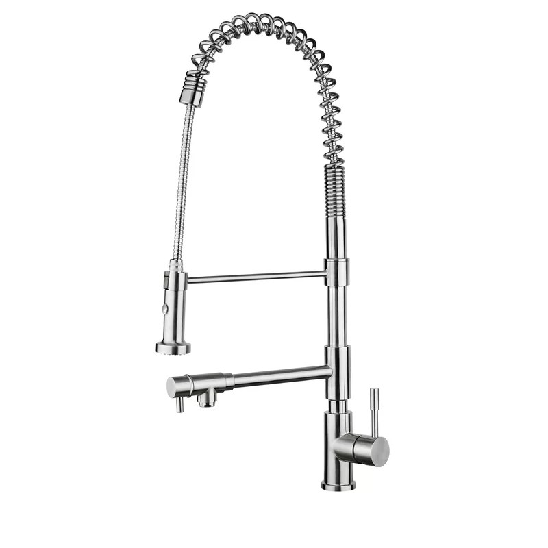chef plus commercial grade swivel spout and sprayer pull down single handle kitchen faucet