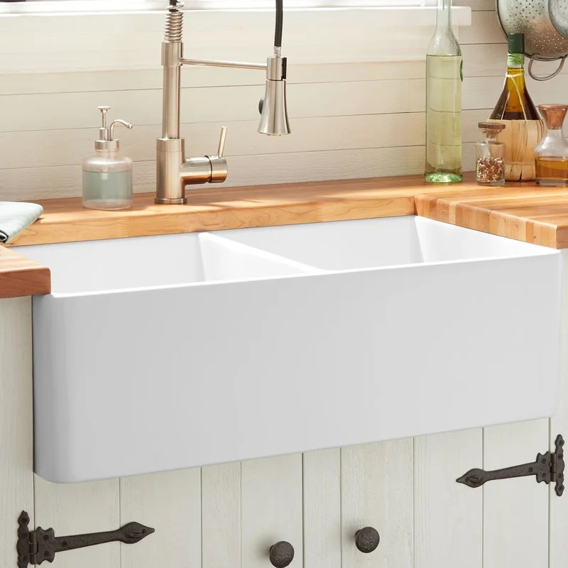 signature hardware 393672 33 reinhard double bowl fireclay farmhouse sink white