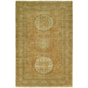 Griswalda Hand Knotted Wool Rust Area Rug