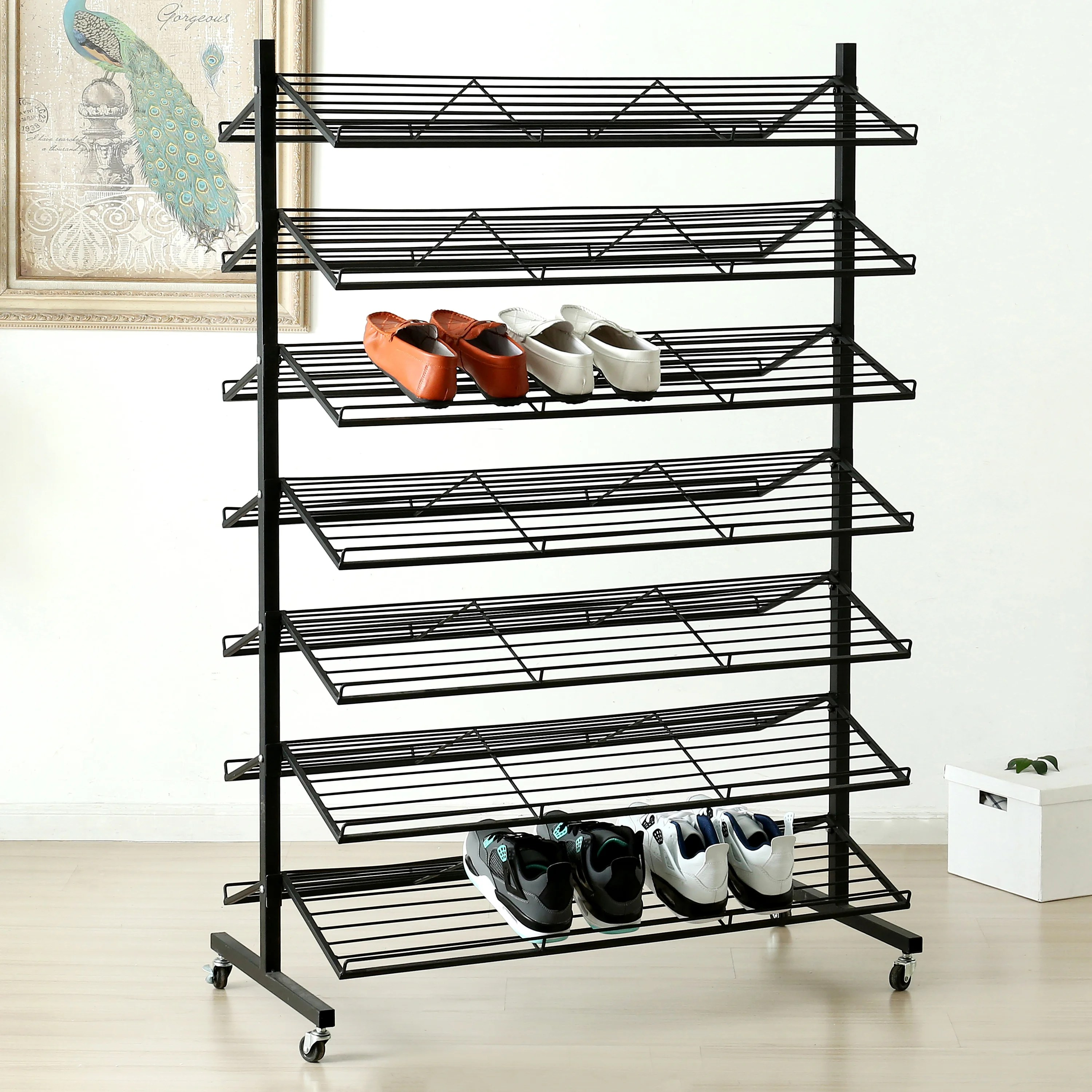 dual sided rolling 70 pair shoe rack