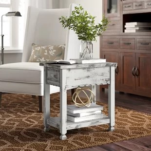 clovis solid wood end table with storage