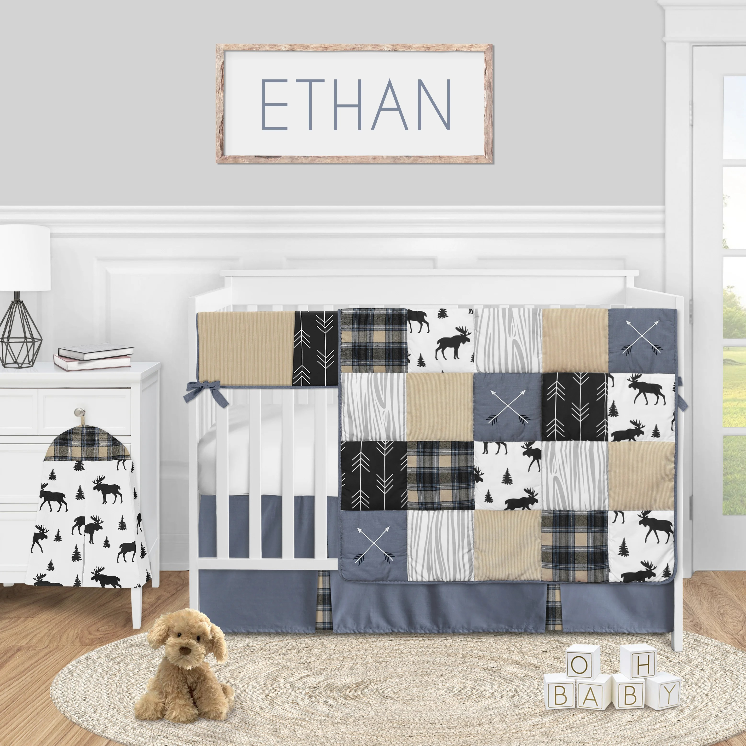 rustic patch 5 piece crib bedding set