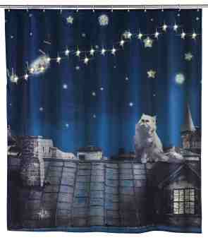 Wenko Inc Led Moon Cat Single Shower Curtain