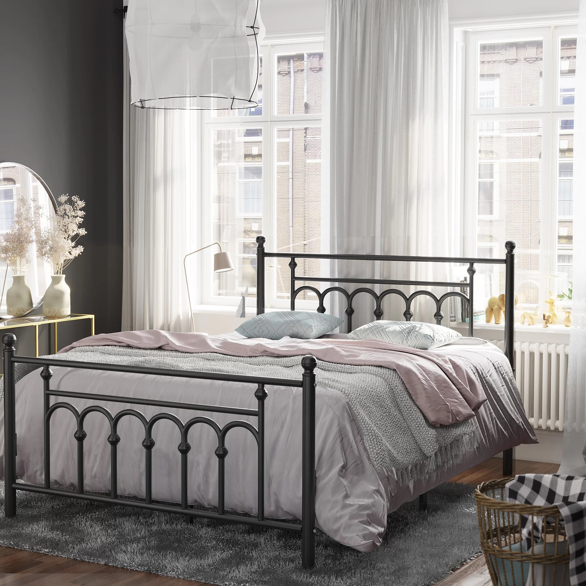 Winston Porter Twin Size Metal Bed Frame With Headboard Footboard No Box Spring Needed Platform Bed Under Bed Storage Victorian Vintage Style White A9d60158f24048059497dcffb0f7ce40 Reviews Wayfair Ca