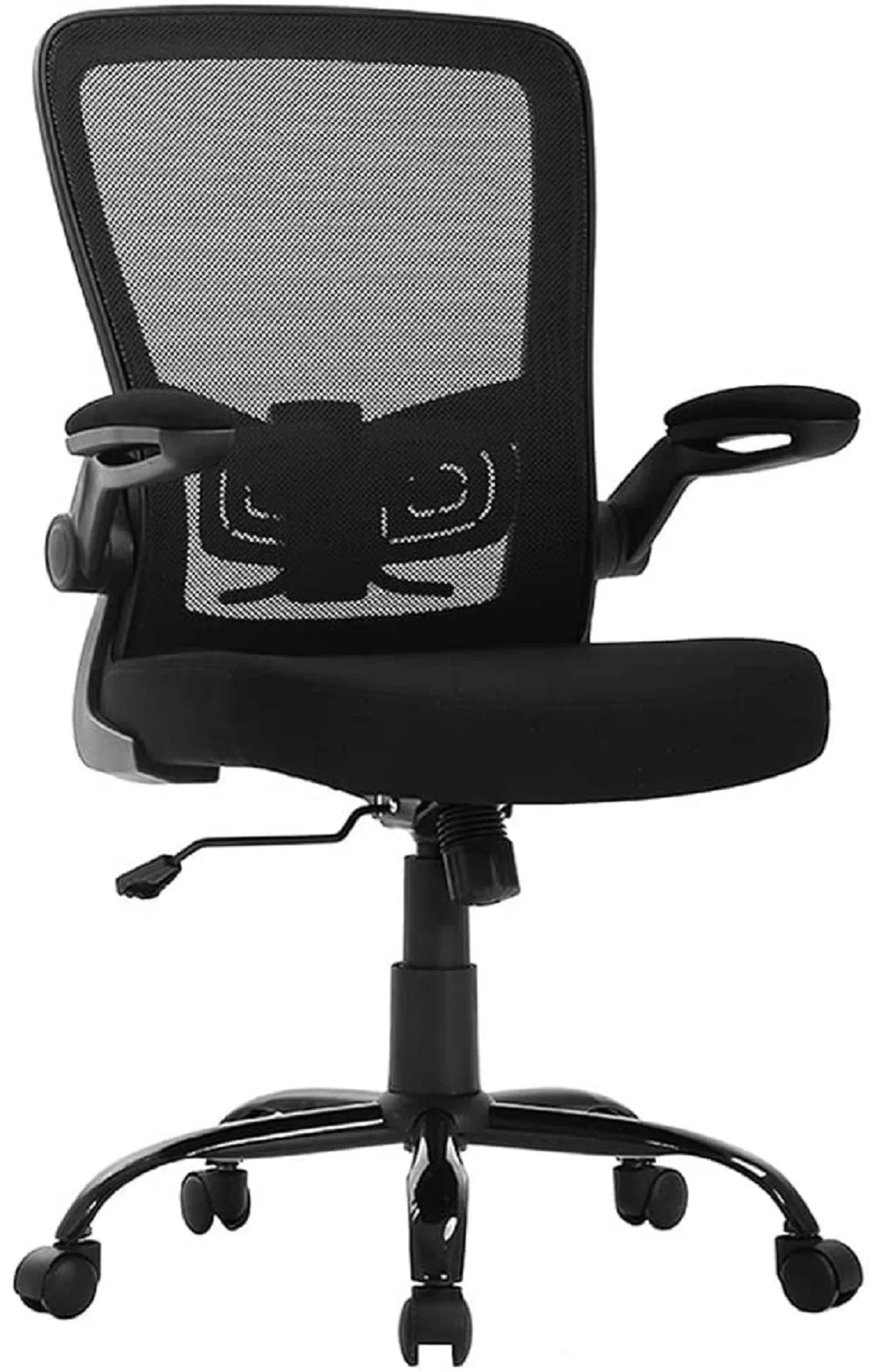 Inbox Zero Ergonomic Office Chair Desk Chair Mesh Computer Chair With Lumbar Support Flip Up Arms Swivel Rolling Adjustable Mid Back Computer Chair For Women Men Adults Black Wayfair