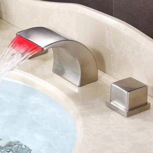wide spread waterfall led thermal sink faucet