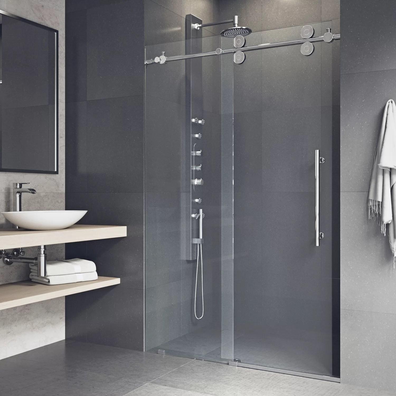 elan 64 w x 74 h single sliding frameless shower door with rollerdisk technology
