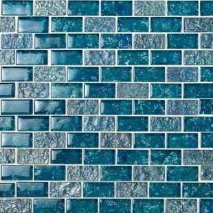 marina 1 x 2 glass mosaic tile