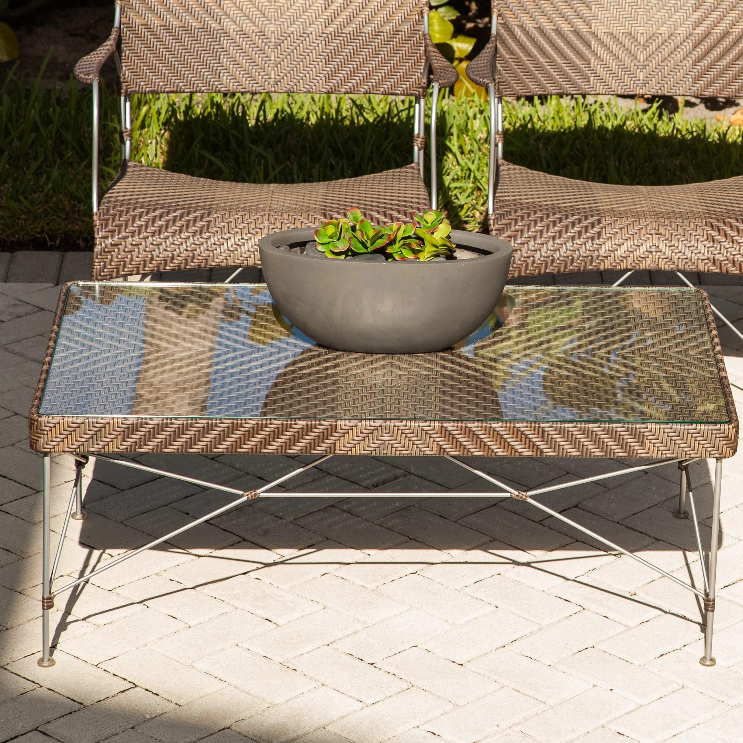 zen outdoor glass coffee table