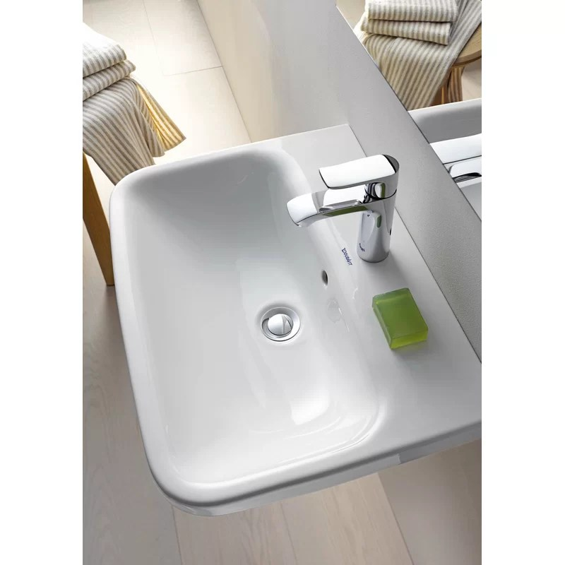 white ceramic rectangular wall mount bathroom sink with overflow