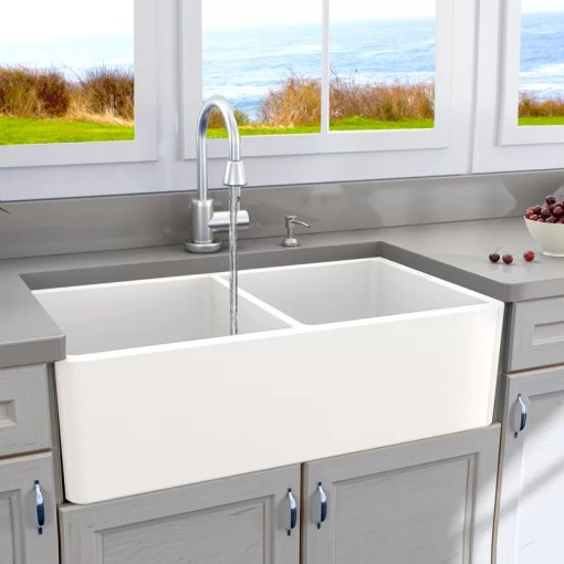Nantucket Sinks Cape 33  L x 18  W Double Basin Farmhouse Kitchen     Cape 33  L x 18  W Double Basin Farmhouse Kitchen Sink