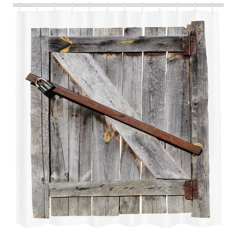 rustic aged wooden barn door single shower curtain
