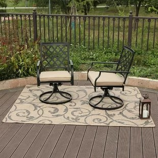 careen outdoor swivel patio chair with cushions set of 2