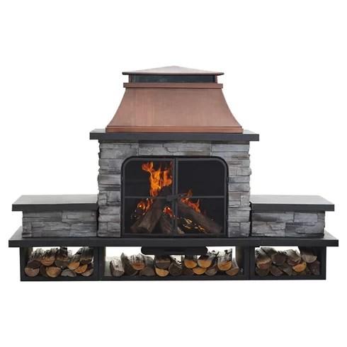 Sunjoy Connan Steel Wood Burning Outdoor fireplace ... on Quillen Steel Outdoor Fireplace  id=85175